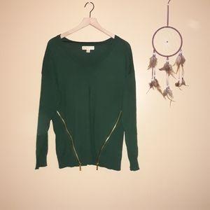Michael Kors Emerald Green Side Zipper Sweater